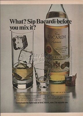 1975 Bacardi Rum Sip Before You Mix It Vintage 1970s photo print ad