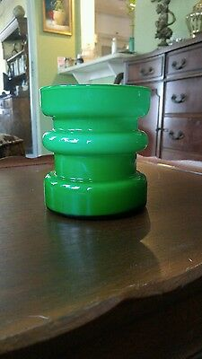 Mid Century Mod Alsterfors Per Olaf Strom Scand. Green Hooped Cased Glass Vase