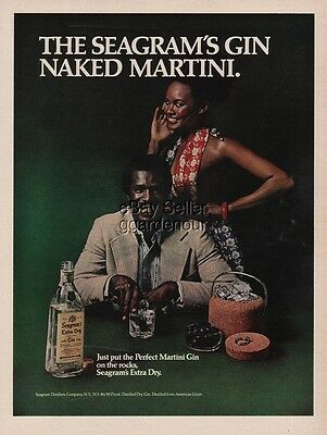 1975 Seagram Gin Naked Martini Photo African American Advertising Print Ad