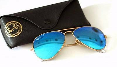 NEW RAY BAN RB3025 AVIATOR BLUE AND GOLD MIRROR LENS ITALY SUNGLASSES 62MM shade