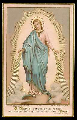 VIRGIN IMMACULATE - OUR LADY OF GRACES Antiq 1895 w/ GOLD BOUASSE HOLY CARD