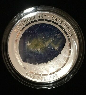 2016 Australia Northern Sky -  Cassiopeia 1oz Silver Proof Colour Domed Coin