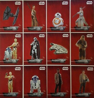 Star Wars FORCE AWAKENS SERIES 1 Character Sticker / Card Set of 18 topps 2015