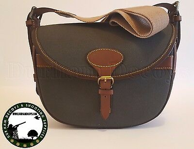Canvas & Leather Cartridge Bag - Green - 100 Cartridges - Shooting - Hunting