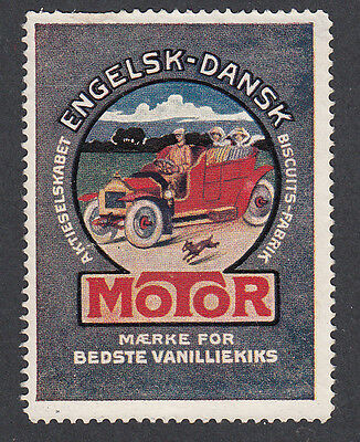 Denmark Poster Stamp  DOG RUNS BESIDE THE CAR