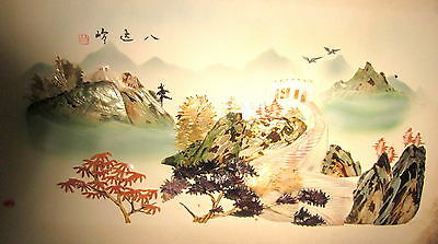 very old Japanese nacre (mother of pearl) ladscape art - damage to edges