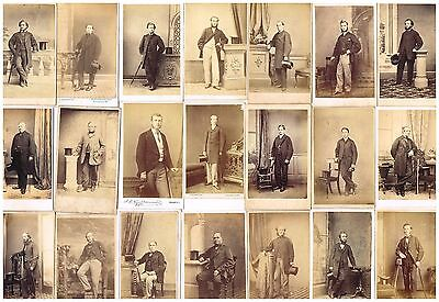 Old Cdv Photographs Victorian Gentlemen With Top Hats Antique / Vintage Fashion