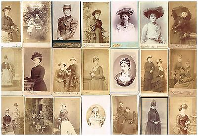 Old Cdv Studio Photographs Victorian Ladies With Hats Antique / Vintage Fashion