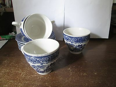 English Ironstone tableware  old willow pattern cups and saucers
