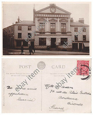 LUTON original (riots) Town Hall, Bedfordshire. Boots real photo postcard, 1912.