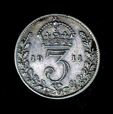 1911 George V  Silver Threepence, In Better Condition,a73
