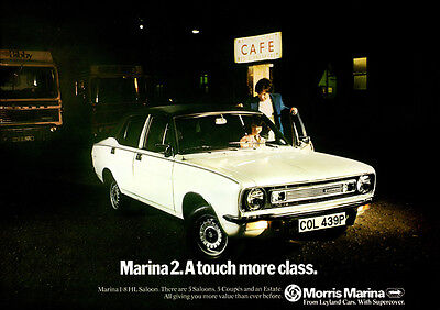 Morris Marina Hl Saloon 1.8 Retro A3 Poster Print From Classic 70's Advert