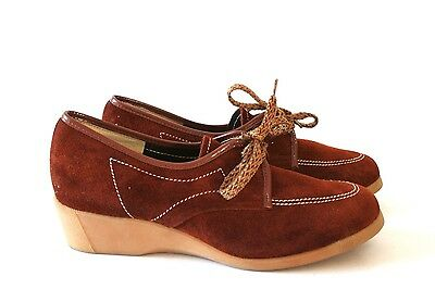 UK 5 Scholl Vintage Wedge Shoes - 1980s Brown Suede Leather - 38