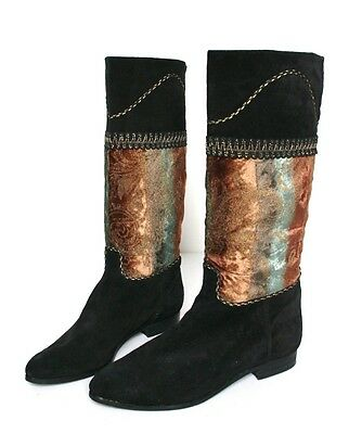 UK 40 (Narrow) Vintage Boots - 1980s Black  /Gold Suede Leather - 40