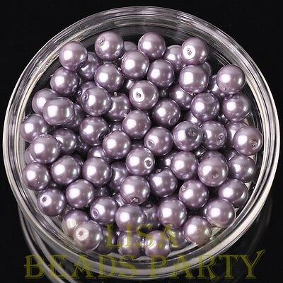 Hot 30pcs 8mm Round Glass Pearl Loose Spacer Beads Jewelry Making Light Purple
