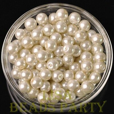 Hot 30pcs 8mm Round Glass Pearl Loose Spacer Beads Jewelry Making Pearl White