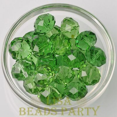 Hot 5pcs 16X12mm Big Crystal Glass Rondelle Faceted Loose Beads Green
