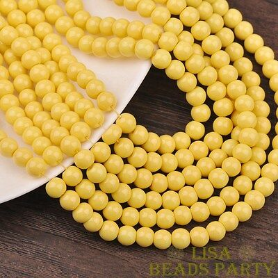 Hot 30pcs 8mm Round Glass Loose Spacer Beads Jewelry Findings Light Yellow