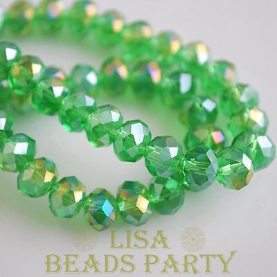 Hot 10pcs 12X8mm Crystal Glass Rondelle Faceted Loose Big Beads Green AB