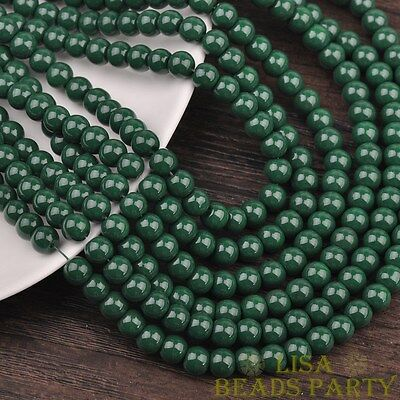 Hot 30pcs 8mm Round Glass Loose Spacer Beads Jewelry Findings Deep Green