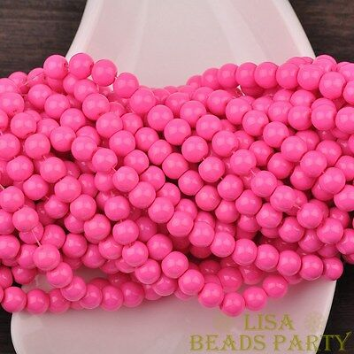 Hot 50pcs 6mm Round Glass Loose Spacer Beads Jewelry Findings Deep Pink
