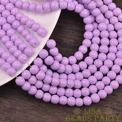 Hot 30pcs 8mm Round Glass Loose Spacer Beads Jewelry Findings Light Purple