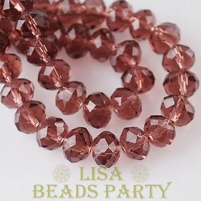 Hot 10pcs 12X8mm Crystal Glass Rondelle Faceted Loose Big Beads Fuchsia