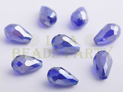 Hot 10pcs 15X10mm Teardrop Faceted Loose Glass Spacer Big Beads Bulk Blue AB