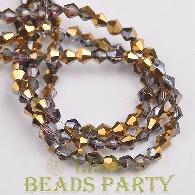 Hot 100pcs 4mm Bicone Faceted Crystal Glass Loose Spacer Beads Half Gold