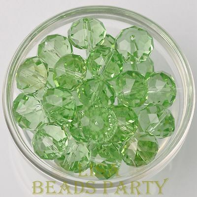 Hot 5pcs 16X12mm Big Crystal Glass Rondelle Faceted Loose Beads Light Green