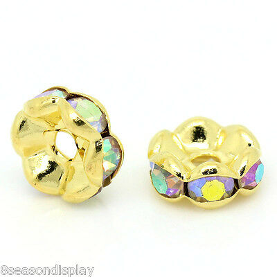 50PCs Spacer Beads Rondelles AB Color Rhinestone Gold Plated 8mm Dia.