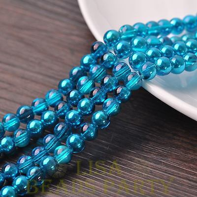 Hot 72pcs 8mm Round Glass Loose Spacer Beads Jewelry Making Peacock Blue