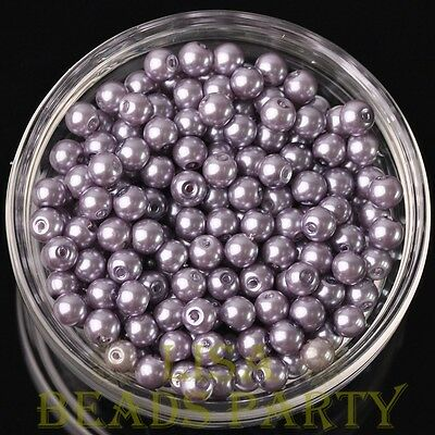 Hot 50pcs 6mm Round Glass Pearl Loose Spacer Beads Jewelry Making Light Purple