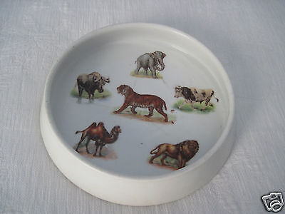 THREE CROWNS VINTAGE HEAVY CHILD'S PORCELAIN DISH w/WILD ANIMALS-GERMANY-GREAT