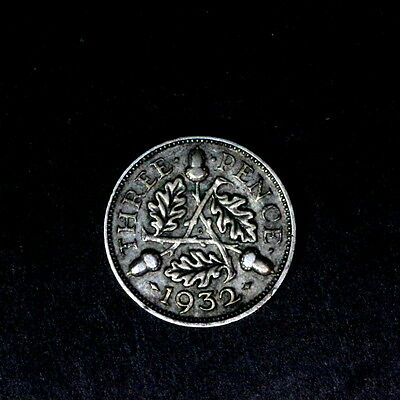 1932 George V  Silver Threepence, In Better Condition,a79