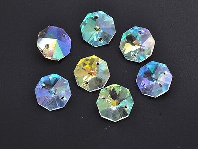 10pcs 14mm 2 Holes Octagon Faceted Crystal Glass Charms Loose Beads Clear AB