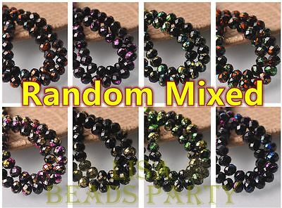 Hot 30pcs 8mm Glass Black Rondelle Faceted Loose Beads Random Mixed