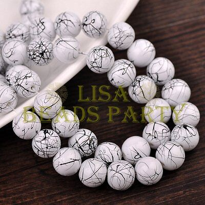 New 30pcs 10mm Round Black Stripes Charm Loose Spacer Glass Beads White