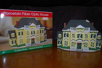 Porcelain Fiber Optic House- Colored Lights - Hand Painted Yellow House-Verynice