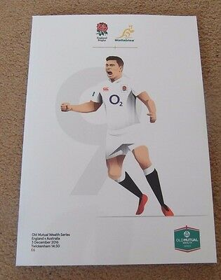 New England v Australia Old Mutual Series Rugby Union Programme 3/12/2016