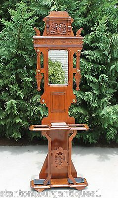 Eastlake Victorian Walnut Rose Marble Top Hall Tree Stand Iron Drip Pans c1880