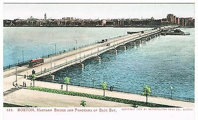 Early Undivided Back Postcard - Tram on Harvard Bridge - Back Bay Boston USA