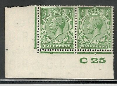George V -SG 418-1/2d Green - Block Cypher - Mint Hinged - Control C 25