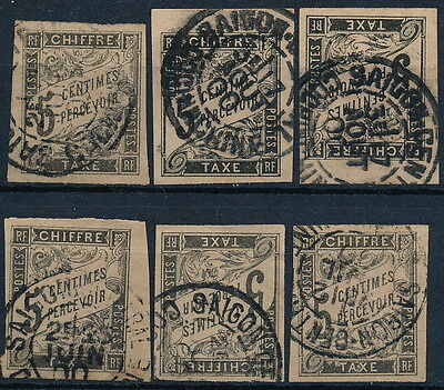 Vietnam , French Colonial 6 Used Postage Due Stamps, Saigon Postmarks  #a1763