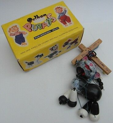 Vintage Pelham Puppets Toy Black and White Cat String Puppet Good Boxed 1960s!!!