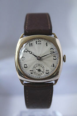 Beautiful Vintage Solid Gold 9Ct (375) Mens Cushion Watch - Superb - No Reserve!