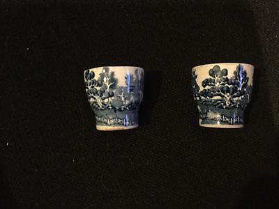 Pair Of Irish Arklow Pottery Willow Pattern Egg Cups.
