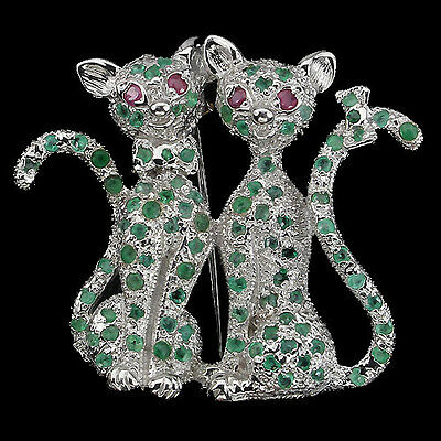 Adorable! Round Cut Green Emerald,red Pink Ruby Sterling 925 Silver Cats Brooch