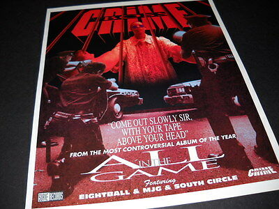 CRIME BOSS most controversial album of year 1994 PROMO DISPLAY AD Eightball MJG