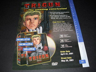 TRIGUN the amazing conclusion Vintage ANIME Promo Ad mint condition